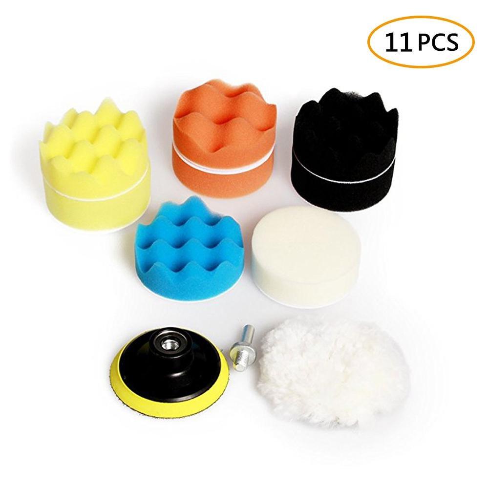 Leegoal auto schiuma trapano lucidatura Pad kit, 11 pezzi 7,6 cm/80 mm Pads per auto, di levigatura, lucidatura ceretta, tenuta Glaze (8 cuscinetti 1 lana tampone Pad 1 drill adattatori 1 ventose) 11pezzi 7