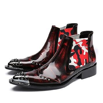 Mr.Zhangs Art Home Mens shoes Botines para Hombre Discoteca Caballero Caballero Botas Rojo Vino