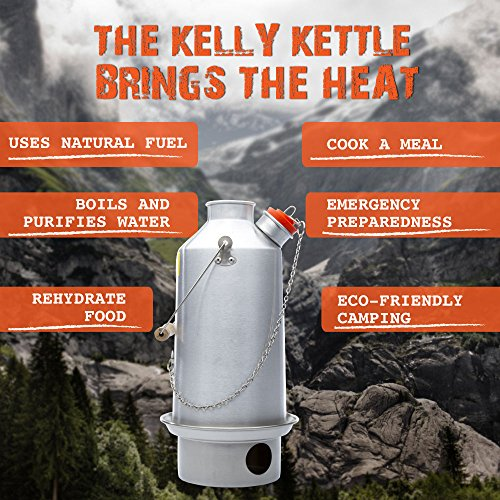 Kelly Kettle Camp Stove Anodized Aluminum Base Camp - Large - Holds 54 oz of Water - Boils Water Within Minutes, Uses Natural Fuel, and Enables You to Rehydrate Food or Cook a Meal