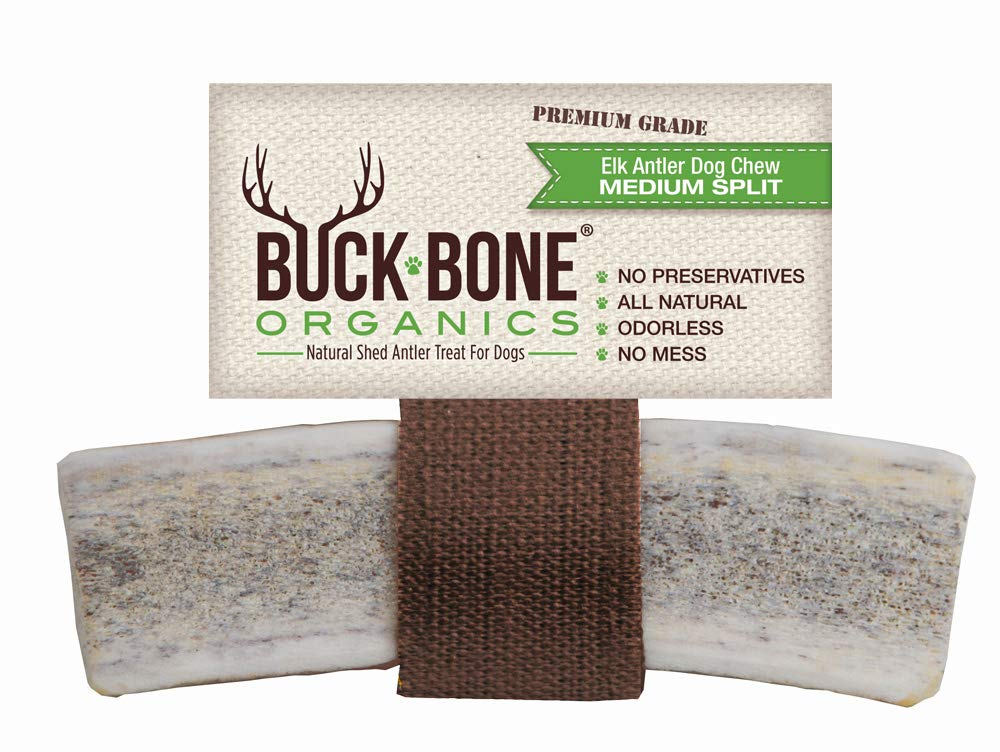 Buck Bone Organics Elk Antlers for Dogs, Premium Grade A - Naturally Sourced from Shed Antler, Split Antlers 5-7'' in Length, Made in The USA