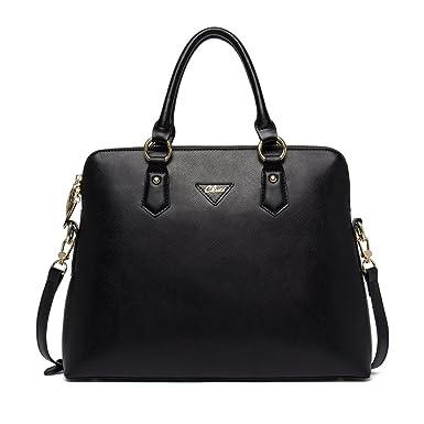 0e55b07d68 Cluci Women s Cow Leather Handbags Briefcase Purse Shoulder Bags Tote Bags  Black