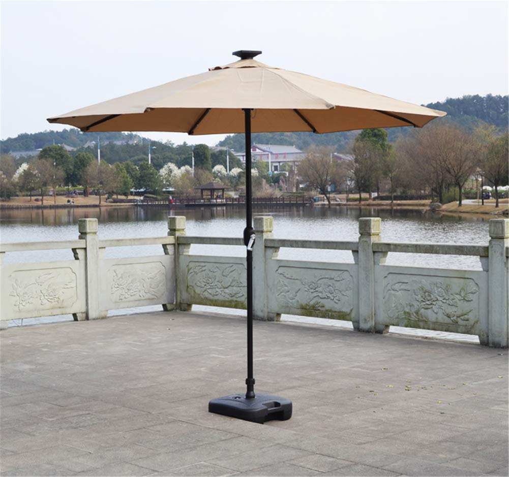 MAMASAM Outdoor Patio Umbrella with Led Lights and Solar Panels Weatherproof 2.7 M,White