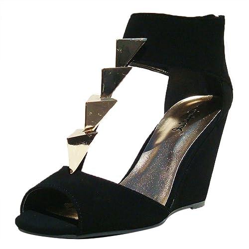 5acfbce1c86 Qupid Women s Flix03 Black Nubuck Triangle Stud T-Strap Open Toe Wedge 6.0  ...