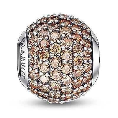 Glamulet Lucky Birthstone Paved Gemstone Charms Beads 925 Sterling Silver Fits Pandora Bracelet from Glamulet