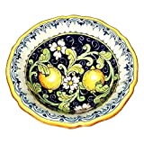 CERAMICHE D'ARTE PARRINI - Italian Ceramic Serving Bowl Centerpieces Decorated Lemons Art Pottery Dishware Made in ITALY Tuscan