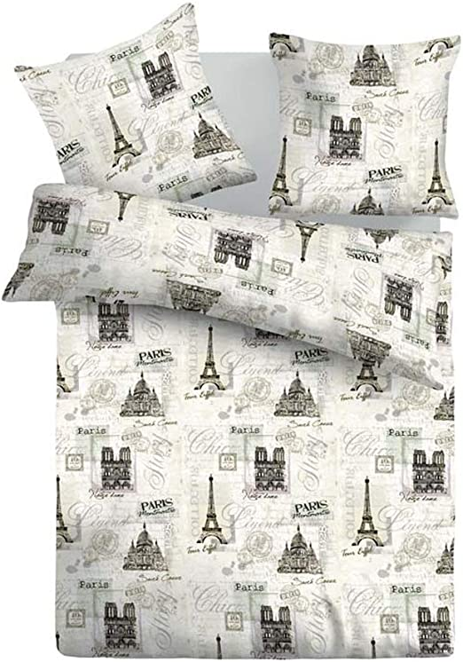 SoulBedroom Paris City Tour Juego de Cama, 100% Algodón (Funda de ...
