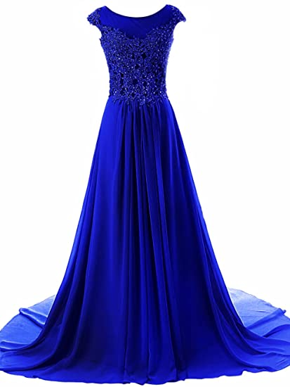 JAEDEN Womens Long Evening Dresses Lace Prom Party Dress Chiffon Bridesmaid Gown Cap Sleeve Royal Blue
