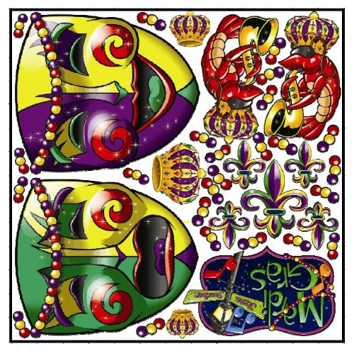 [Giant Mardi Gras Parade Car Wall Art Removable Decal Stickers] (Mardi Gras Masks Template)