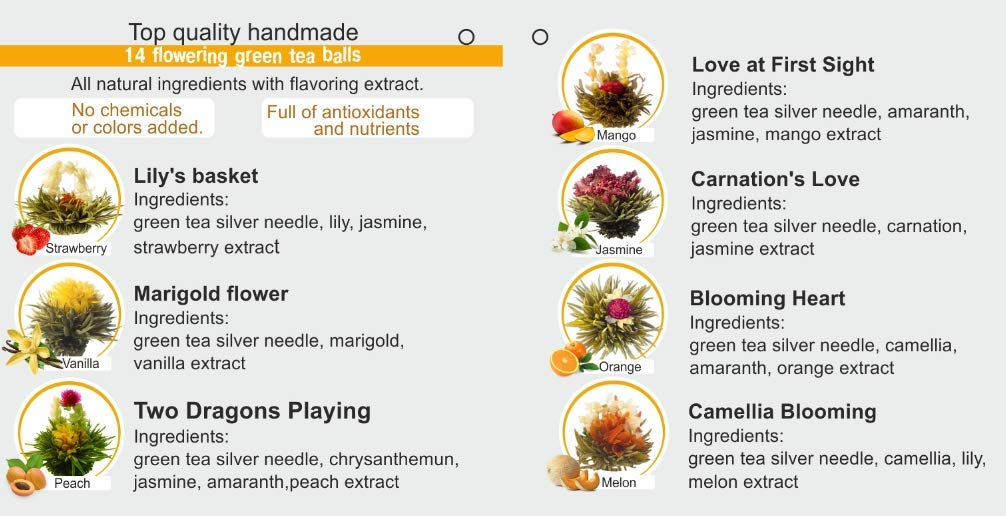 Assorted Blooming Tea Flower Balls with Flavors (7 balls)