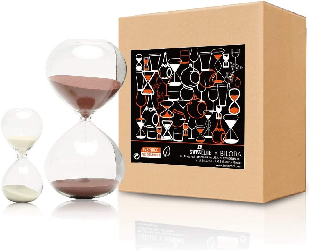 SWISSELITE Sand Timer/Hourglass Set of 2 for Time Management - Biloba Glass, 30 Minute (or 60 Minutes) + 5 Minute Set, 2 Options Choice, Work & Play - for Your Home & Office Decoration