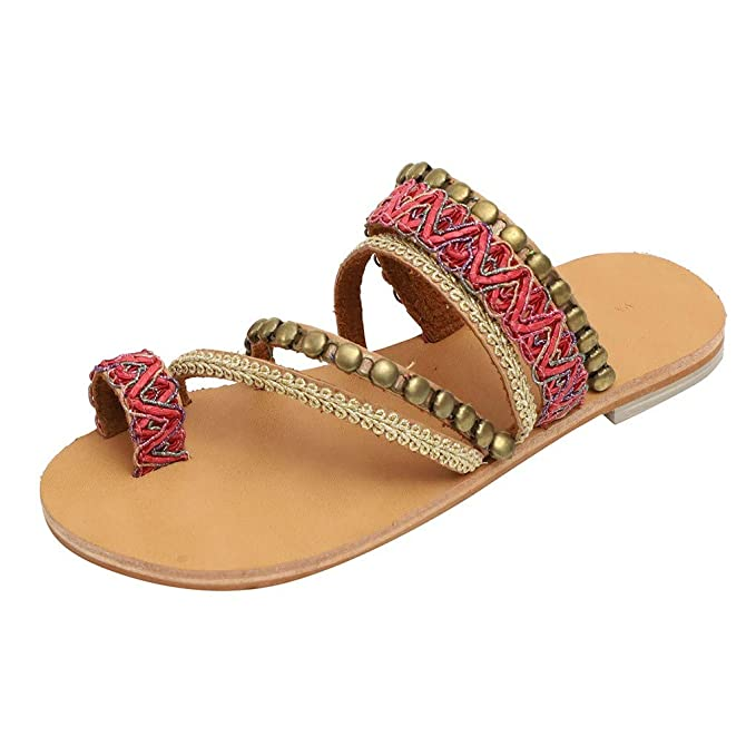 601c4cdab775 Women Bohemian Flat Sandals Summer Vintage Gladiator Leather Slip On Flip  Flop Casual Pee Toe Shoes Pom-Pom Sandals at Amazon Women s Clothing store