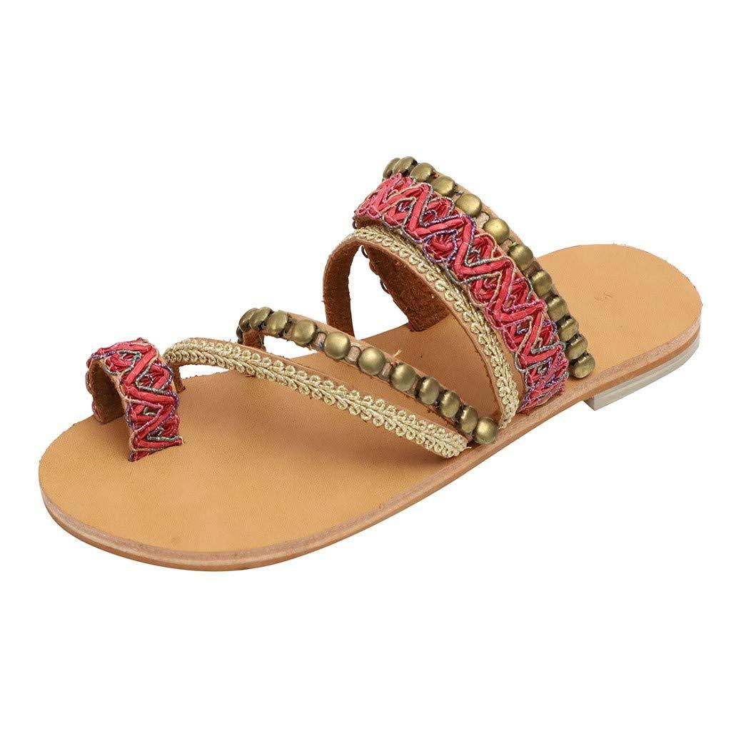 Women Bohemian Flat Sandals Summer Vintage Gladiator Leather Slip On Flip Flop Casual Pee Toe Shoes Pom-Pom Sandals (Red, US:5.5)