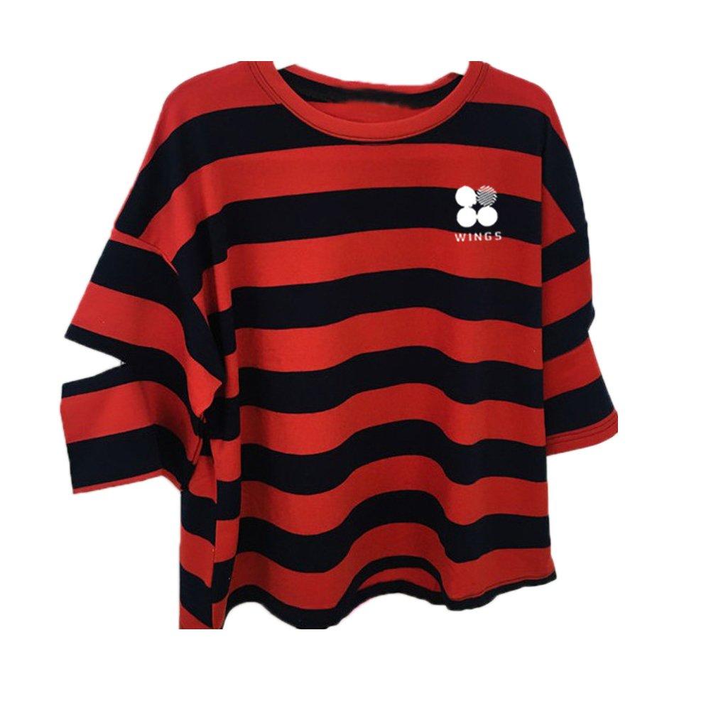 Discovery Kpop BTS T-Shirt Bangtan Boys BTS Stripe Printed Top SUGA Jin Jimin Jung Kook J-Hope Rap-Monster V