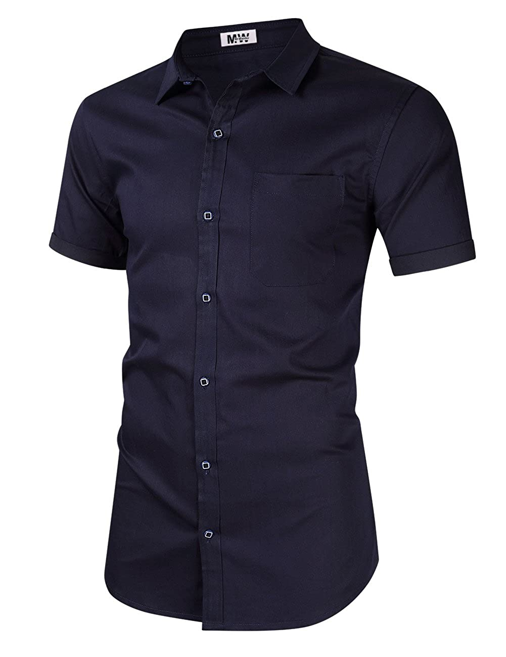 137eedad0 MrWonder Men's Casual Slim Fit Button Down Dress Shirt Short Sleeve Denim  Shirts Jean Shirt at Amazon Men's Clothing store: