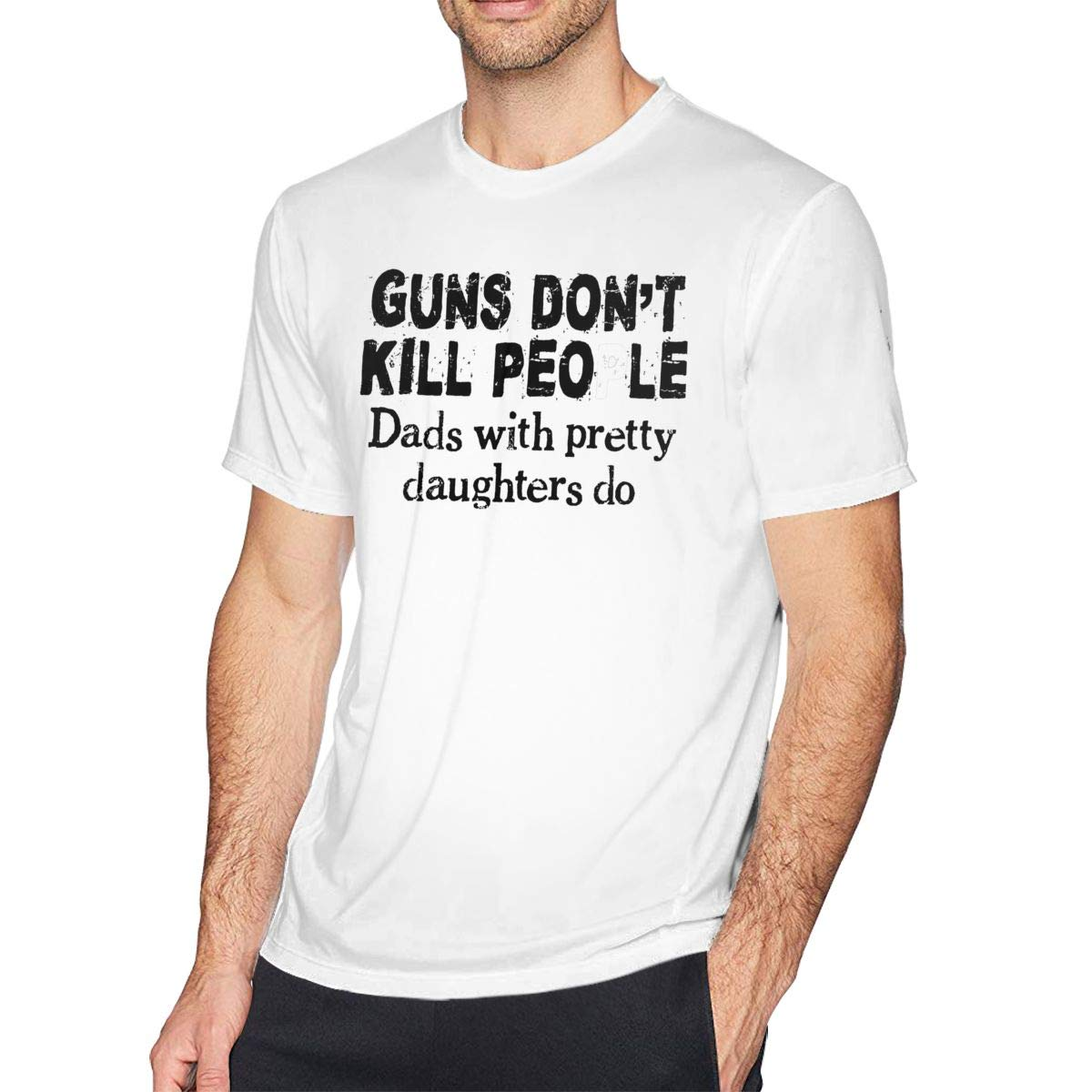 Bfcxbgdsig Guns Dont Kill People Dads with Pretty Daughters Do Soft and Comfortable Fashionable Tshirt with Round Collar White XXL