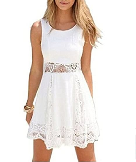 ed87b70ca5b Women Sleeveless Lace Summer Sexy Patchwork Hollow Party Cocktail Dress  White at Amazon Women s Clothing store