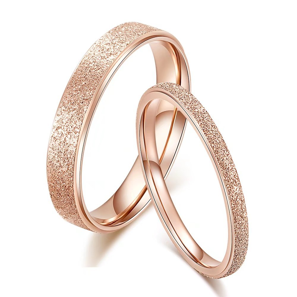 KAIYUFU Jewelers 4mm Width Women's Titanium Rose Gold Frosted Engagement Wedding Band Jewelry Rings Gifts Comfort Fit Size 4 US