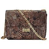 Women Handbag,Women Bag, KINGH Vintage Shoulder Bag PU Leather Snakeskin pattern Messenger Bag 155 Brown