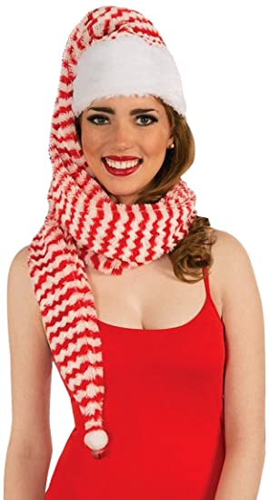 67c60b48a9b4e9 Amazon.com: Forum Novelties Women's Santa Cozy Wrap Hat, Red/White ...
