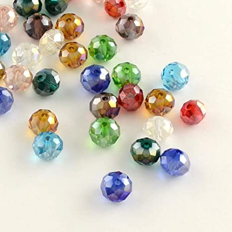100 x glass beads electroplated rondelle faceted 6mm x 4mm multi colour loose