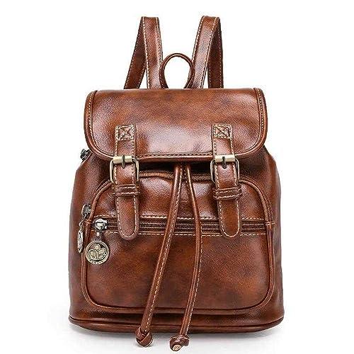 ead2e9f2b TIBES cuero grande PU del morral mochila estudiantil mochila casual mochila  mujer B marrón: Amazon.es: Zapatos y complementos