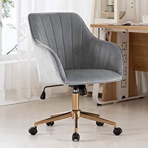 Duhome Home Office Chair Computer Desk Chair Armchair Task Chair Velvet Upholstered Chair Height Adjustable Comfortable Stool Swivel Rolling Chair with Gold Metal Base for Office Study Grey