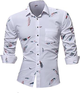 Camisas hombre Manga larga de los hombres casual camiseta fresca en el estilo de otoño,YanHoo® Mens Casual color manga larga camisa negocio Slim Fit camisa impresa blusa (Blanco, 3XL): Amazon.es: Iluminación