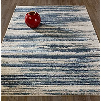 "Diagona Designs Contemporary Stripes Design Modern 5' by 7' Area Rug, 63"" W x 87"" L, Beige / Navy / Teal"