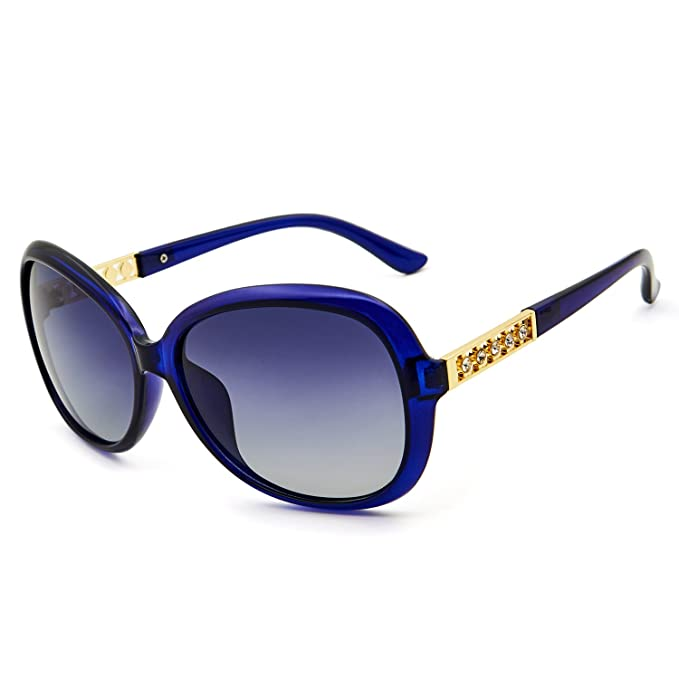 f4a35ff3c4 Leckirut Womens Oversized Polarized Sunglasses UV400 Protection Rhinestone  Frame Sun Glasses for Driving Travelling blue  Amazon.co.uk  Clothing