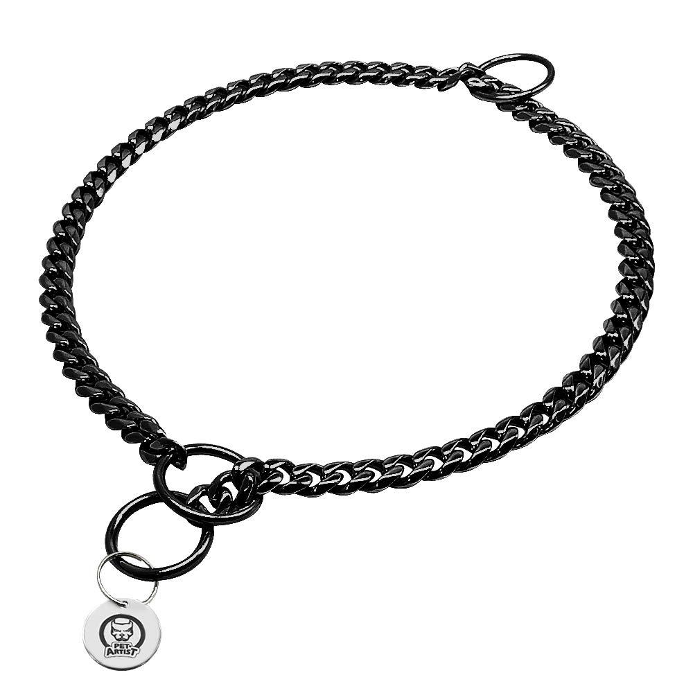 PET ARTIST 3mm Link Black Color Slip Stainless Steel Titan Choke Chain Dog Training Collar-Ring Sealed