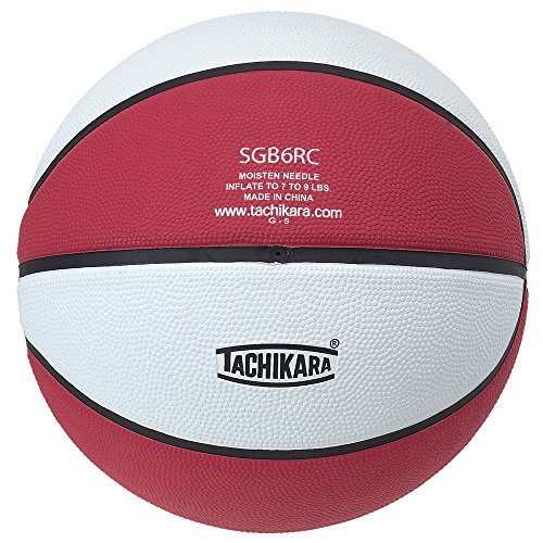 Tachikara Intermediate Size, 2-Tone Rubber Basketball (Scarlet/White)