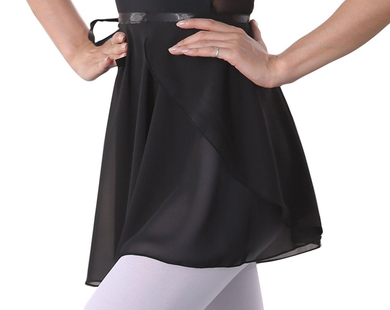 woosun Adult Ladies Ballet Wrap Over Scarf Dance Leotard Skate Tutu Skirt Chiffon 38cm (Black)