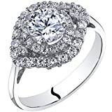 14k White Gold Cubic Zirconia Engagement Ring 1.00 Carat Center Cluster Style Size 7