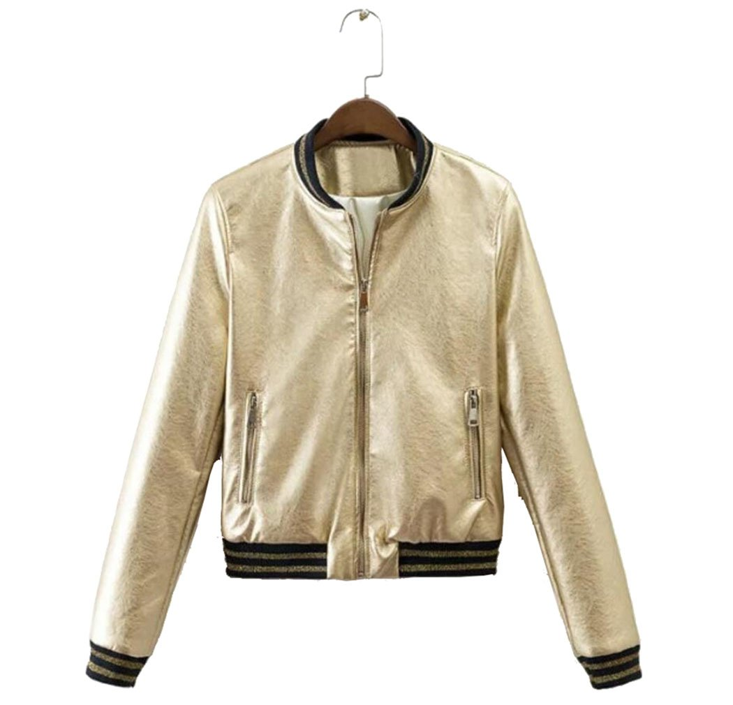 Ellie Hebe Women's Faux Leather Bomber Metallic Casual Jacket Golden Asian L