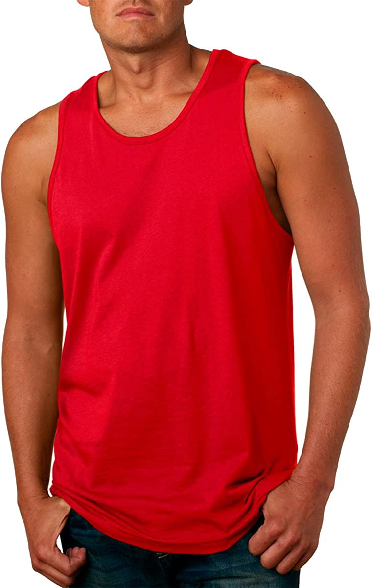 Next Level Apparel mens Next Level Premium Jersey Tank(3633)-RED-2XL
