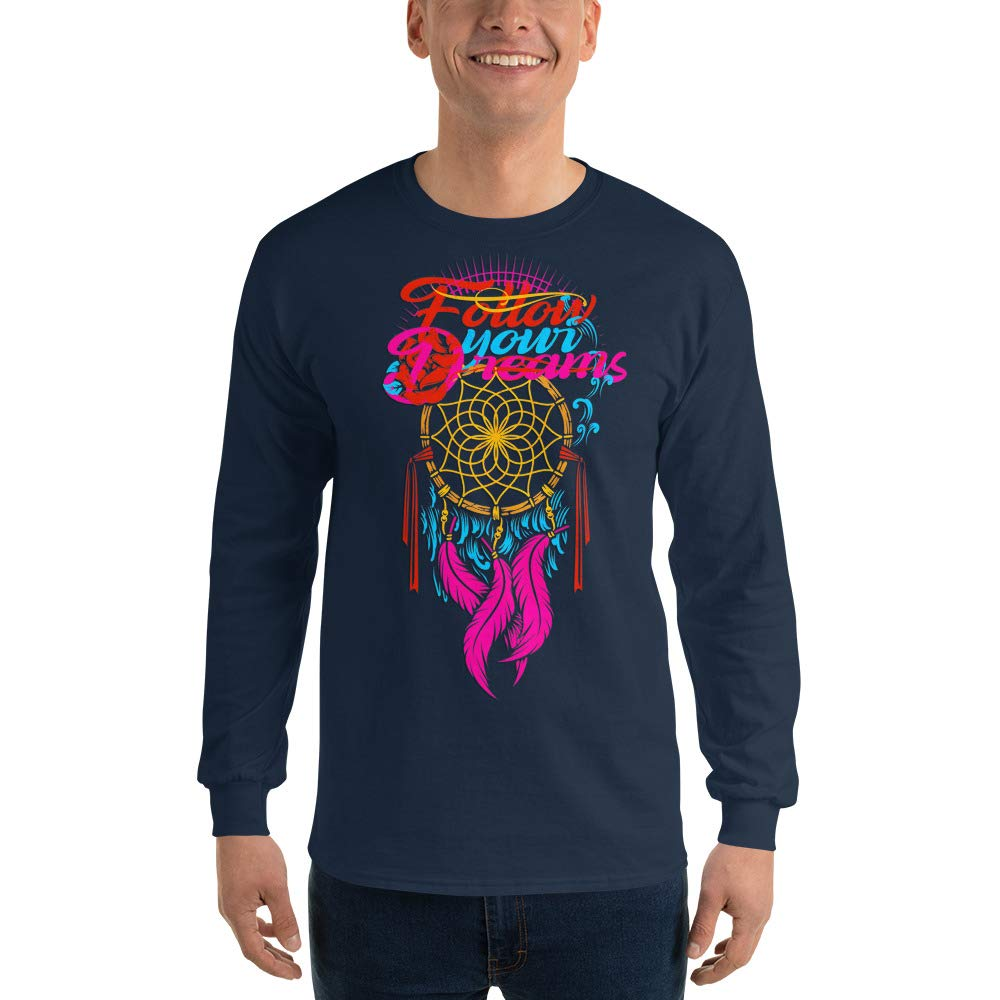 100/% Cotton Spicy Cold Apparel Follow Dreams Long Sleeve T Shirt Funny T-Shirt for Men Graphic