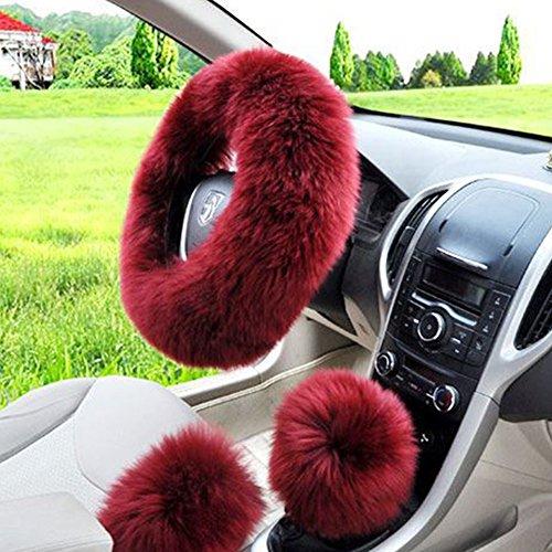 W-ShiG Winter Warm Faux Wool Handbrake Cover Gear Shift Cover Steering Wheel Cover 14.96x 14.96 1 Set 3 Pcs
