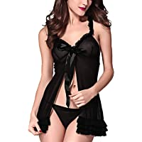 Xs and Os Women Babydoll Nightwear Lingerie Layered Open Front Design with Panty