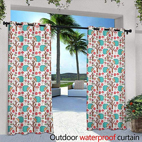 LOVEEO Hedgehog Grommet Outdoor Curtains Cheerful Forest Wildlife Themed Cartoon with Apples Daisies Tree and Mushrooms Embossed Thermal Weaved Blackout 84