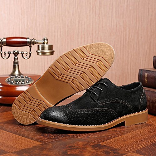 Sunny&Baby Hommes d'affaires Classique Chaussures Mat Respirant Sculpture Creuse en Cuir Véritable Lacets Doublés Oxford (Daim en Option) Résistant à l'abrasion (Color : Marron, Taille : 39 EU) Suede Blk