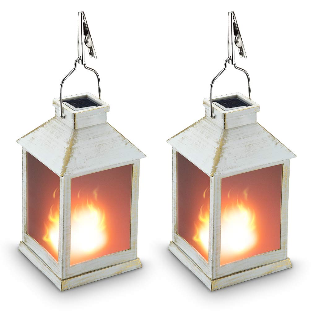 10'' Vintage Style Solar Powered Lantern Fame Effect(Metallic Coating White,Plastic),Solar Garden Light with Vivid Fire Effect,Outdoor Solar Hanging Lantern,Decorative Lanterns ZKEE (Set of 2)