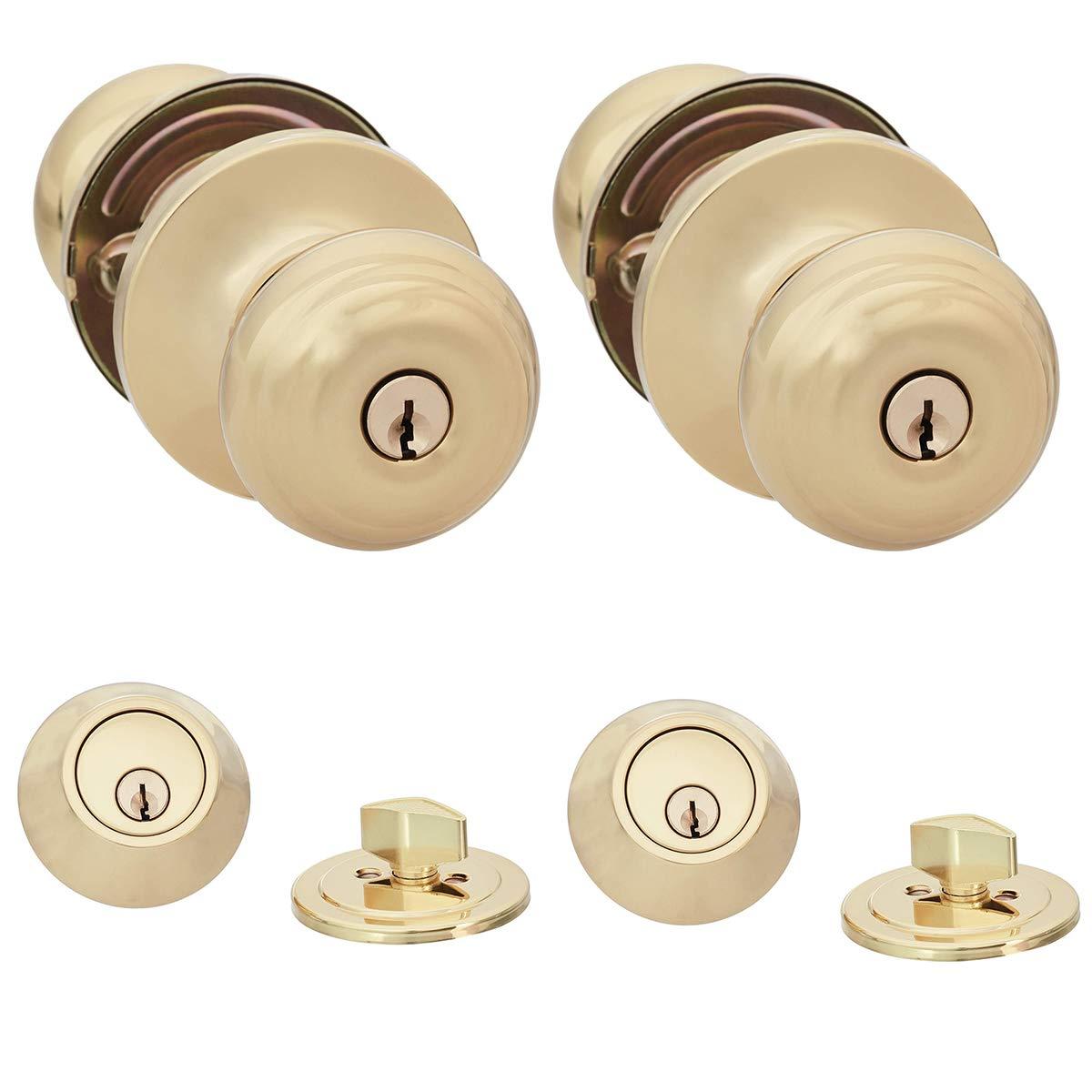 AmazonBasics Entry Knob and Deadbolt - Classic - Polished Brass – 2-Pack by AmazonBasics (Image #1)