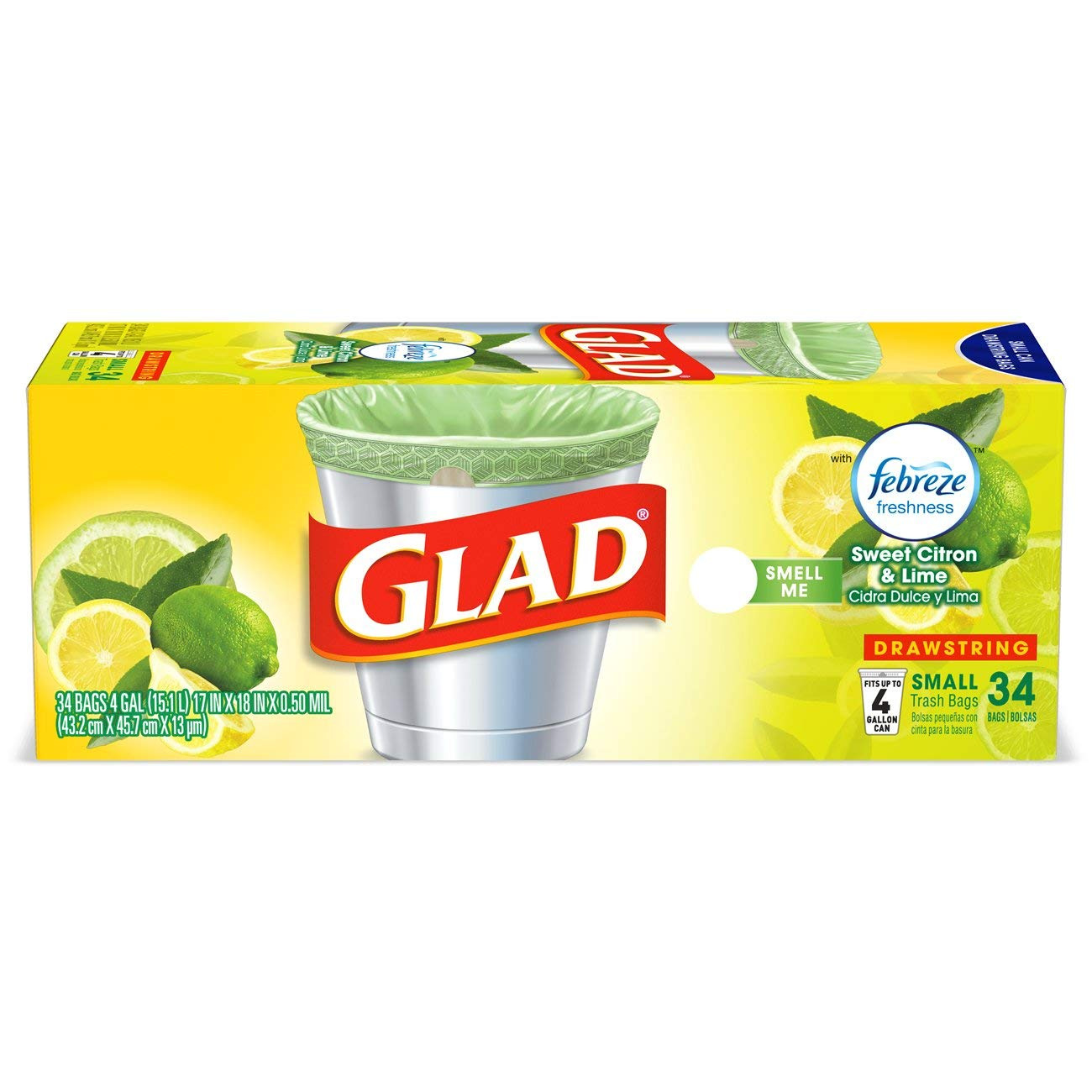Glad OdorShield Small Drawstring Trash Bags - Febreze Sweet Citron & Lime - 4 Gallon - 34 Count - 6 Pack