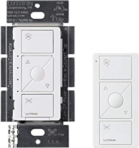 Lutron Caseta Wireless Smart Fan Speed Control, Single-Pole, PD-FSQN-WH, White, Works with Alexa and the Google Assistant with Caseta Wireless Pico Remote White