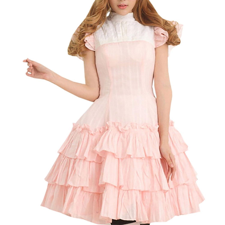 Patiss Damen Frauen mit kurzen Aermeln Portraet Ansatz Spitze Lolita Kleid