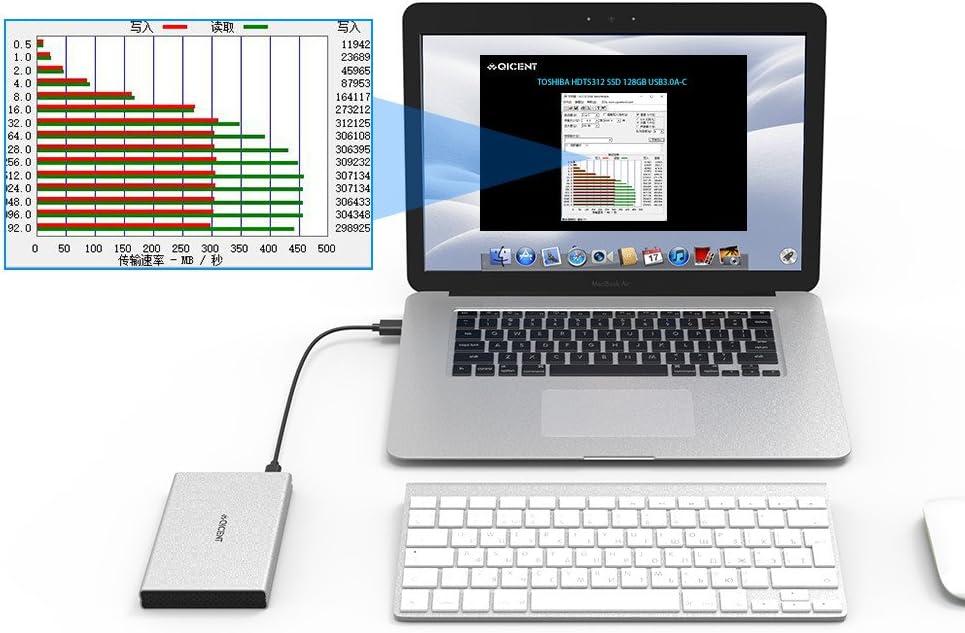 QICENT USB C Caja de Disco Duro Externa para 2,5 pulgadas SATAIII ...