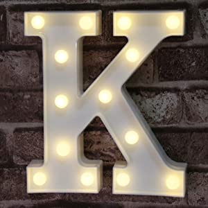 Pooqla LED Marquee Letter Lights Alphabet Light Up Sign for Wedding Home Party Bar Decoration K