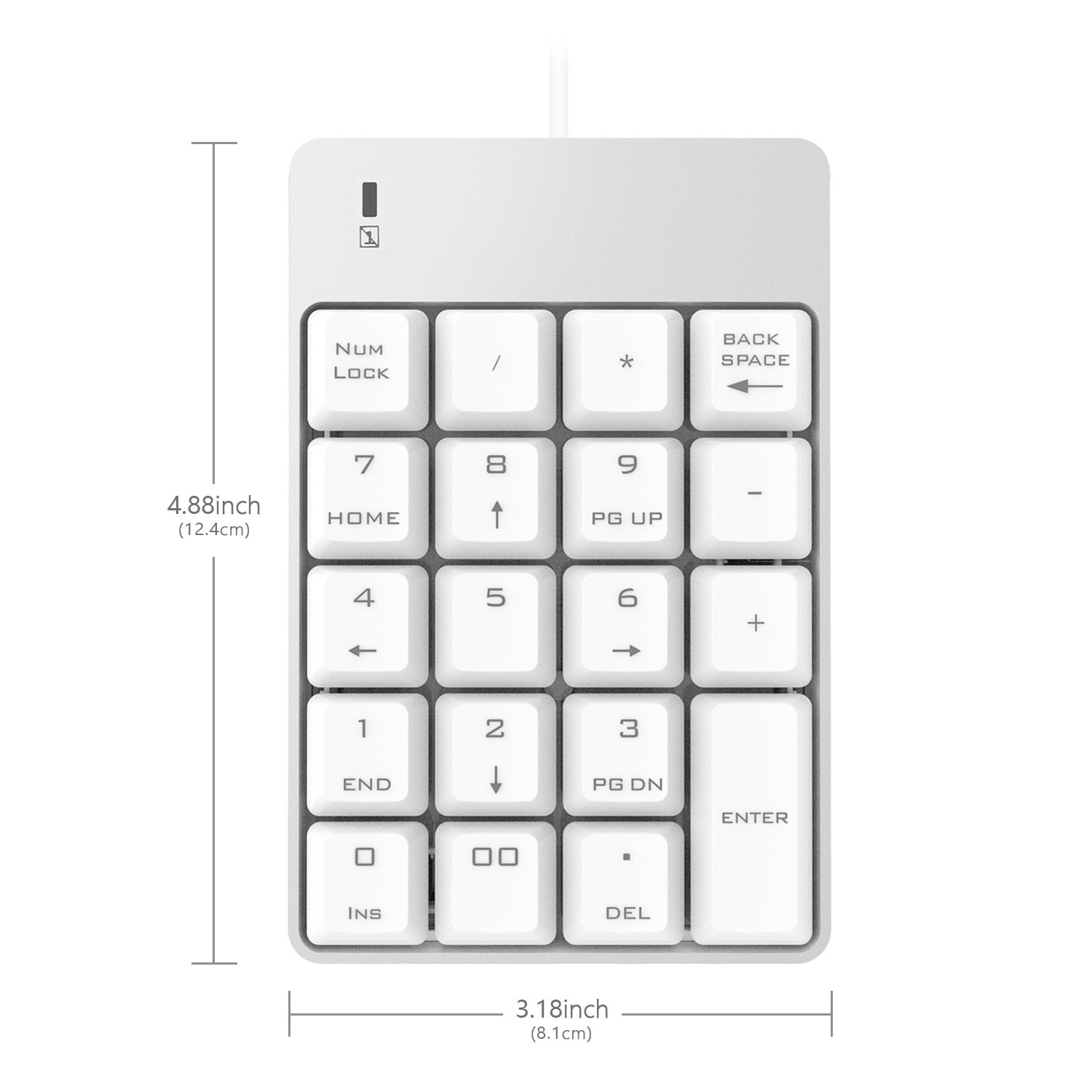 USB Numeric Keypad, Jelly Comb 19 Key Wired Mini Number Keyboard for Laptop  Desktop Computer PC - Silver and White