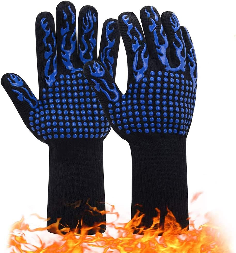 Dsmile 1 Pair 932℉ Extreme Heat Resistant BBQ Gloves Food Grade Kitchen Oven Mitts Cut-Resistant Non-Slip Silicone Grilling Gloves Flexible Oven Gloves(Blue Flame)