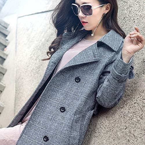Buy and buy at Brandon Windbreaker Female Autumn And Winter Coat Women - Plaid Slim Slimming Double-Breasted Ladies Windbreaker FashionA-1grayA-1XL